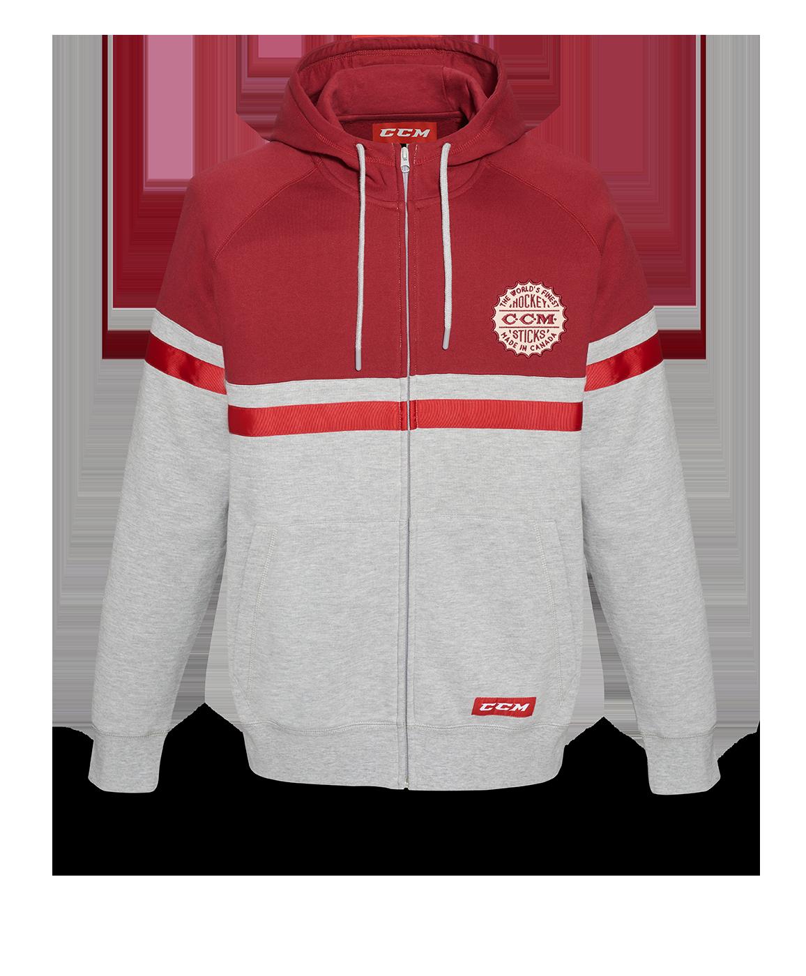 Mikina CCM Heritage Logo Full Zip Hood SR, šedá-červená, Senior, S