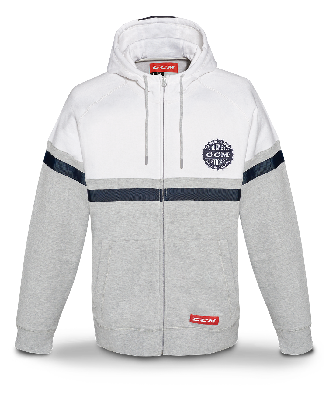 Mikina CCM Heritage Logo Full Zip Hood SR, šedá-bílá, Senior, S