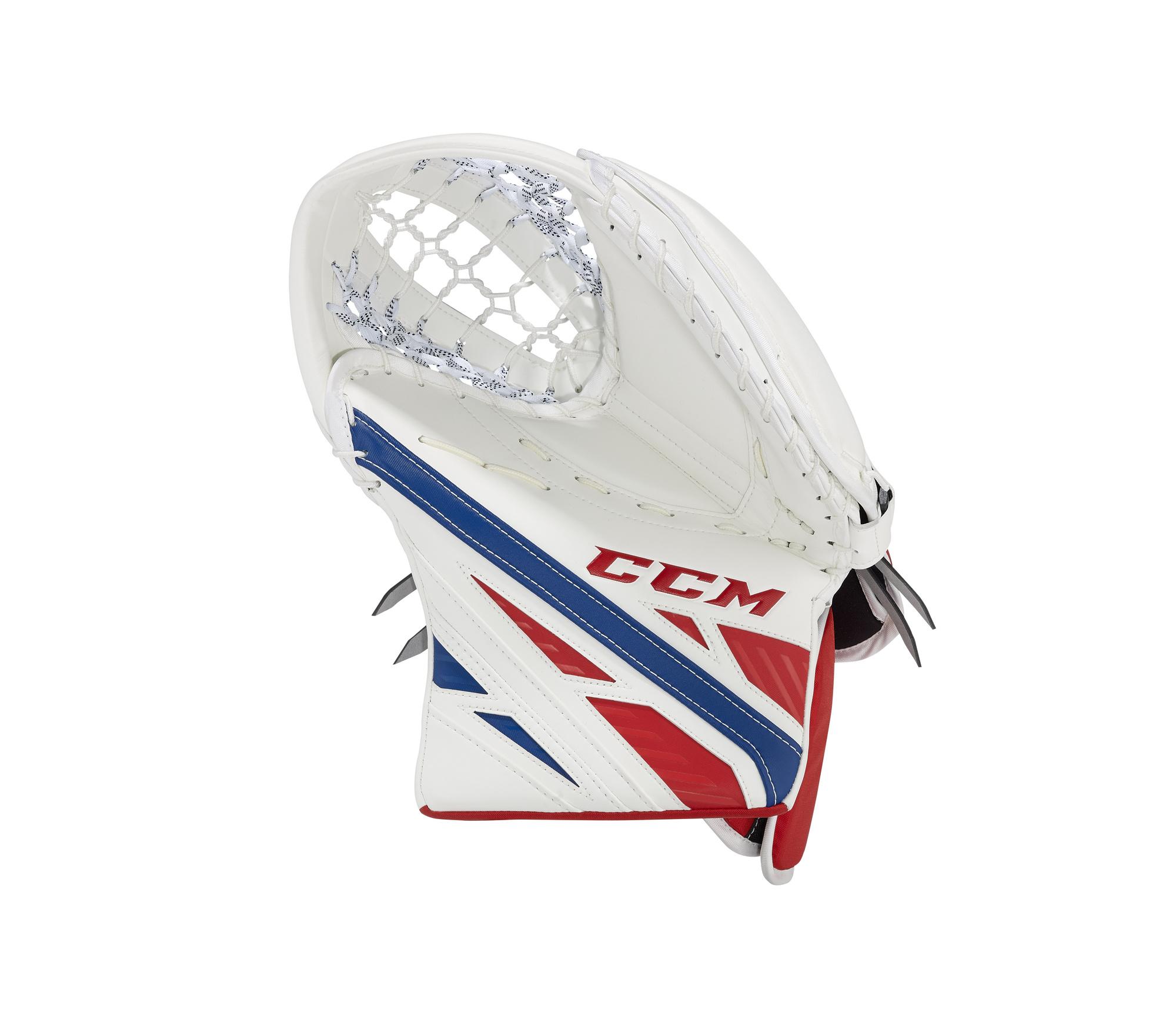 Lapačka CCM EFlex 4 Pro SR, bílá, Senior, Obrácený gard